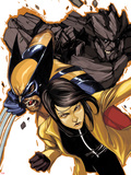 Wolverine and Jubilee No.4 Cover: Jubilee, Wolverine, and Rockslide Charging Wall Decal by Nimit Malavia