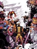Wolverine & The X-Men No.8 Cover: Wolverine, Captain America, Thing, Storm, Psylocke and Others Plastic Sign by Tim Townsend
