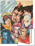 Exiles No.1 Cover: Blink, Morph, Thunderbird, Mimic, Magnus and Nocturne Wood Print by Mike McKone
