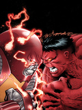 Uncanny X-Men No.11 Cover: Colossus and Red Hulk Fighting Plastic Sign by Greg Land