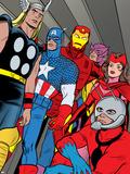 X-Statix No.21 Group: Ant-Man, Captain America, Thor, Iron Man, Scarlet Witch, Hawkeye and Avengers Adhésif mural par Michael Allred
