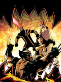 Astonishing X-Men No.37 Cover: Wolverine, Armor, Cyclops, and Emma Frost Plastic Sign by Jason Pearson