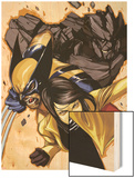 Wolverine and Jubilee No.4 Cover: Jubilee, Wolverine, and Rockslide Charging Wood Print by Nimit Malavia