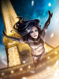 X-23 No.12: X-23 Jumping from the Eiffel Tower Plastic Sign by Sana Takeda