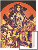 New Mutants Forever No.1 Cover: Selene, Wolfsbane, Magik, Magma ,Cannonball, Moonstar and Others Wood Print by Al Rio