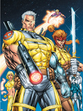 X-Force No.1 Cover: Cable, Shatterstar and Cannonball Plastic Sign by Rob Liefeld