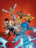 New X-Men No.2 Cover: Surge, Prodigy, Wind Dancer and New X-Men Plastic Sign by Randy Green