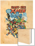 Giant-Size X-Men No.3 Cover: Wolverine, Cyclops, Nightcrawler and Sunfire Charging Wood Print by Dave Cockrum