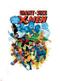 Giant-Size X-Men No.3 Cover: Wolverine, Cyclops, Nightcrawler and Sunfire Charging Wall Decal by Dave Cockrum