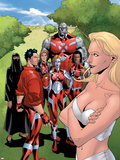 New X-Men: Hellions No.4 Group: Dust, Mercury, Hellion, Rockslide, Tag, Emma Frost Plastic Sign by Clayton Henry