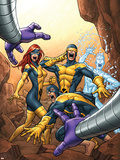 X-Men: First Class No.13 Cover: Cyclops, Marvel Girl, Iceman and Beast Plastic Sign by Roger Cruz