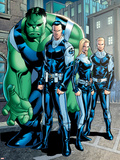 Exiles No.95 Group: Doom, Victor Von, Human Torch, Invisible Woman and Hulk Plastic Sign by Clayton Henry