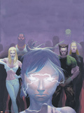 House Of M No.5 Cover: Miller, Layla, Wolverine and Emma Frost Flying Plastic Sign by Esad Ribic