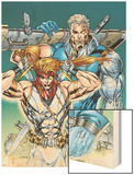 X-Force: Shatterstar No.3 Cover: Shatterstar and Cable Jumping Wood Print by Marat Mychaels