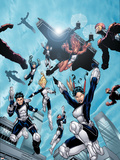 New X-Men No.16 Group: Hellion, Moonstar, Quill, Surge, Synch and Wind Dancer Plastic Sign by Aaron Lopresti
