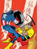 X-Statix No.22 Cover: Captain America and The Anarchist Fighting and Shooting Plastic Sign by Michael Allred