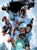 New X-Men: Academy X No.16 Group: Hellion, Moonstar, Quill, Surge, Synch and Wind Dancer Plastic Sign by Aaron Lopresti