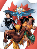 Wolverine: First Class No.5 Cover: Wolverine, Snowbird, Aurora and Shaman Plastic Sign by Salvador Espin