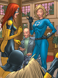 X-Men: First Class No.1 Group: Marvel Girl, Angel, Xavier, Charles and Invisible Woman Fighting Plastic Sign by Roger Cruz
