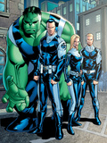 Exiles No.95 Group: Doom, Victor Von, Human Torch, Invisible Woman and Hulk Prints by Clayton Henry