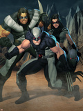 Cable No.7 Group: Wolverine, X-23, Warpath and Wolfsbane Plastikskilte af Ariel Olivetti