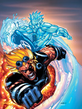 X-Men No.201 Cover: Iceman and Cannonball Plastic Sign by Humberto Ramos