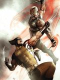 X-Men No.2 Cover: Wolverine and Blade Fighting Plastic Sign by Adi Granov