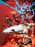 New X-Men No.19 Cover: Prodigy, Hellion, Surge, Magik, New Mutants and Hellions Fighting Plastic Sign by Aaron Lopresti
