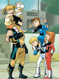 Wolverine And Power Pack No.1 Cover: Wolverine, Zero-G, Mass Master, Lightspeed and Energizer Plastic Sign by  Gurihiru