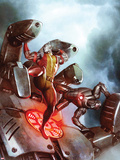 X-Men No.22 Cover: Colossus and War Machine Fighting Plastic Sign by Adi Granov