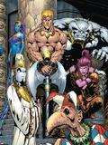 Exiles No.55 Cover: Mimic, Morph, Beak, Sasquatch, Blink, Namora and Exiles Plastic Sign by James Calafiore