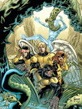 X-Men: First Class Giant-Size Special No.1 Cover: Beast, Cyclops, Marvel Girl, Angel and Iceman Plastic Sign by Jeff Parker