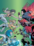 New X-Men No.6 Cover: Wind Dancer, Surge, Hellion, Rock Slide, Dust, New X-Men and Hellions Plastic Sign by Randy Green