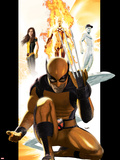 Ultimate X-Men No.1 Cover: Wolverine, Kitty Pryde, Human Torch, and Iceman Plastic Sign by Kaare Andrews