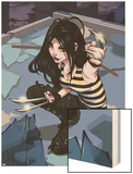 X-23 No.1 Cover: X-23 Kneeling Wood Print by Danni Luo