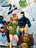 X-Men No.1: 20th Anniversary Edition: Marvel Girl, Cyclops, Professor X, Beast, Angel, and Iceman Plastic Sign by Jim Lee