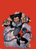 Wolverine No.19 Cover: Wolverine and Nightcrawler Screaming Plastic Sign by Darick Robertson