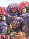 Sentinel No.1 Cover: Sentinel, Seyfert and Justin Fighting Plastic Sign by Joe Vriens