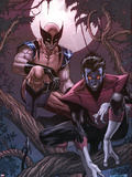 Wolverine Weapon X No.16 Cover: Nightcrawler and Wolverine Crouching in a Tree at Night Plastic Sign by Ron Garney