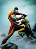 Wolverine No.4 Cover: Wolverine and Colossus Fighting Plastic Sign by Jae Lee