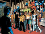 Handbook: X-Men 2005 Group: Nightcrawler, Wolverine, Beast, Emma Frost, Colossus and Storm Plastic Sign by Darick Robertson