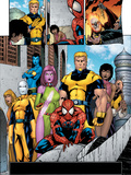 Exiles No.56 Group: Spider-Man, Mimic, Morph, Blink, Namora and Exiles Print by James Calafiore