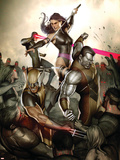X-Men No.231 Cover: Wolverine, Colossus, Psylocke and Cyclops Plastic Sign by Adi Granov