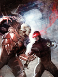 X-Men No.6 Cover: Cyclops and Dracula Fighting Plastic Sign by Adi Granov