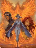 What if Astonishing X-Men No.1 Cover: Emma Frost, Phoenix and Cyclops Wall Decal by J. Scott Campbell
