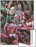 Magnetro: Not a Hero No.2 Cover: Magneto, Scarlet Witch, and Quicksilver Sitting Wood Print by Clay Mann