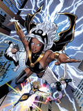 Uncanny X-Men No.531: Storm, Northstar, Angel, Dazzler, and Pixie Flying Plastic Sign by Greg Land