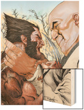 X-Men: Wolverine and Kingpin Fighting Cover Wood Print by Renato Guedes