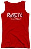 Juniors Tank Top: Popeye - 3D Logo Womens Tank Tops