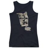 Juniors Tank Top: Bettie Page - Newspaper & Lace Tank Top